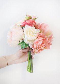 Coral Silk Peony and Ranunculus Bouquet - Tall Blush Coral Peony & Ranunculus Bouquet Cheap Wedding Flowers, Silk Wedding Bouquets, Prom Flowers, Silk Flower Bouquets, Wedding Flower Arrangements, Flower Bouquet Wedding, Wedding Ideas, Prom Bouquet, Rustic Wedding