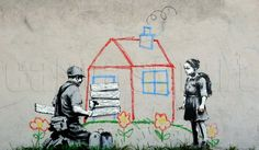 Crayon House Foreclosure Banksy Mural Graffiti Spray Painting Dark Humour Canvas Print Giclée Galler