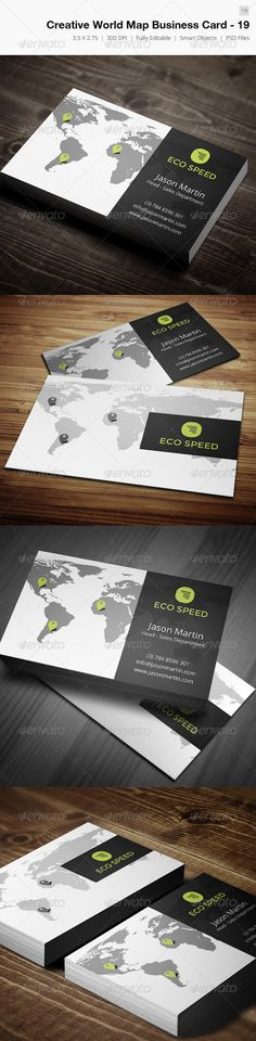 """Creative World Map Business Card - 19 #GraphicRiver Business card – perfect for any idustry. Features. 300 DPI CMYK Print Ready! - Full Editable, Layered 2.0×3.5 (2.25"""" x 3.75"""" with bleed) you can find fonts here : Montserrat – .google /webfonts/specimen/Montserrat Open sans - .google /webfonts/specimen/Open+Sans please dont forget to rate it. Created: 19March13 GraphicsFilesIncluded: PhotoshopPSD Layered: No MinimumAdobeCSVersion: CS3 PrintDimensions: 3.75x2.25 Tags: attractive #beautiful…"""