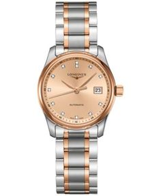 Longines Women's Swiss Automatic The Longines Master Collection Diamond Accent 18k Gold-Plated and Stainless Steel Bracelet Watch 29mm L22575997