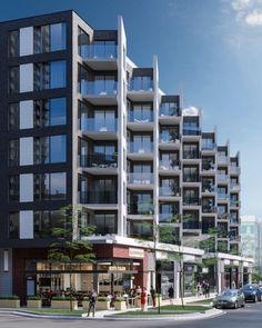 MYX condos situé à L'Île-des-Soeurs comprendra 169 condos résidentiels et des commerces au rez-de-chaussée Building Facade, Condominium, Condos, Multi Story Building, Architecture, Buildings, Spaces, Arquitetura, Architecture Design