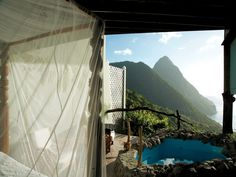 Soufriere, St. Lucia All you need to set the scene for a special proposal is a room looking out over the dramatic Piton mountains. A private plunge pool and a four-poster bed round out the romantic ambience at this adults-only resort. Ladera also hosts destination weddings, so you can revisit the moment by saying your vows with the Pitons as your witness.