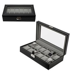 Sale at Komplete Kollection Watch Box Large 12 Mens Black Leather Display Glass Top Jewelry Case Organizer