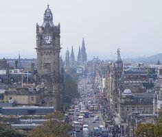 Edinburgh - Princes Street.  It is around an hour to get from Glasgow to Edinburgh, by bus or train.