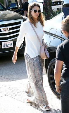 Jessica Alba Does Some Shopping In A Flowing Silk Printed Skirt