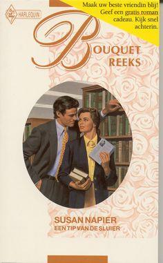 Harlequin - Bouquet -Susan Napier - Een tip van de sluier. #harlequin #bouquet #bouquetreeks #vintage #boeken #covers #susannapier