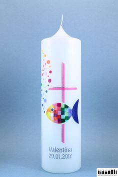 "Christening candle ""Mosaic fish rainbow with cross"", fuchsia - Christening candle fish - Latin Symbols, Love Symbols, Communion, Bad Spirits, Diy Gifts For Kids, Previous Life, Something Old, Pillar Candles, Christening"