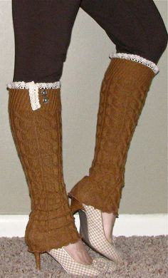 Luxe & Lace Cable Knit Leg Warmers in Camel