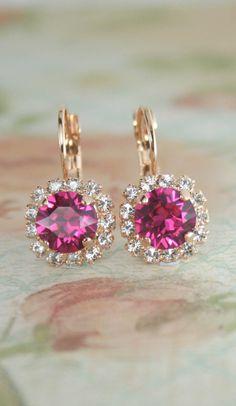 pink crystal earrings,rose gold earrings,pink wedding jewelry,pink bridesmaid earrings,hot pink crystal earrings,fuchsia earrings,leverback