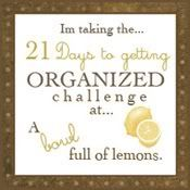 21 DAY ORGANIZING CHALLENGE        * Join the Challenge (at any time)      * Day 1 - Junk Drawer      * Day 2 - Computer Desk      * Day 3 - Tupperware Cabinet      * Day 4 - Linen Closet      * Day 5 - Under kitchen sink      * Day 6 - Dresser Drawers      * Day 7 - The Pantry      * Day 8 - Coat Closet      * Day 9 - Toy organization      * Day 10 - Laundry Room      * Day 11 - The Freezer      * Day 12 - Spice Cabinet      * Day 13 - Medicine Cabinet      * Day 14 - Under bathroom sink      * Day 15 - Medicine/Vitamin Storage      * Day 16 - The Fridge      * Day 17 - The Mail      * Day 18 - Keepsakes      * Day 19 - Master Closet      * Day 20 - Photos      * Day 21 - You pick!