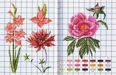 Lindas flores para bordar | Ponto Cruz-Cross Stitch-Punto Cruz-十字绣-Punto Croce-Kreuzstitch-Point de Croix-вышивк