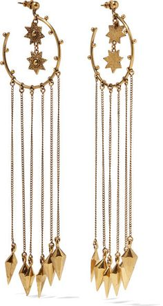 Chloé's 'Layton' earrings reflect the label's adventurous and free-spirited aesthetic. Hammered for a handcrafted feel, this gold-tone pair is strung with delicate chains and charms that swish beautifully as you move. Accentuate their bohemian feel with a chiffon blouse or paisley dress. -- Bell-back fastening for pierced ears- Made in Italy