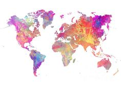 World Map Pastel