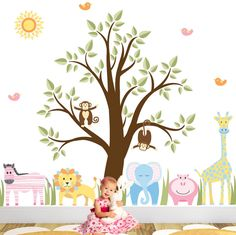 Jungle Animal Nursery Wall Stickers featuring zebra, elephant, lion, hippo, giraffe, monkeys & tree - pinned by pin4etsy.com