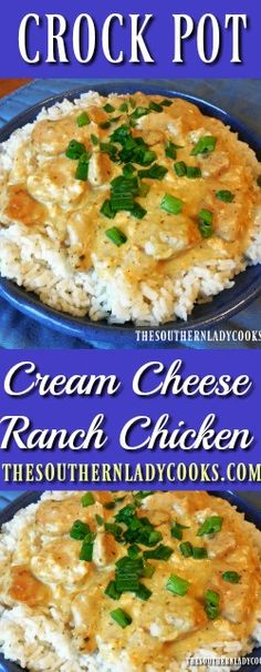 This recipe for Crock Pot Cream Cheese Ranch Chicken is so easy to prepare and is good served over rice or pasta. Serve this with cornbread muffins