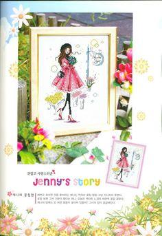 0 point de croix Jenny, fille chez le fleuriste - cross-stitch girl, lady at the florist's shop part 1