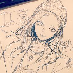 "6,556 Me gusta, 25 comentarios - みつまよ (@mitsumayo) en Instagram: ""休憩〜久しぶりにアナログです。ニット帽っていいよな〜って思いながら描いたけどポーズが謎すぎる #illustration #doodle #drawing #otaku #manga #落書き #絵…"""