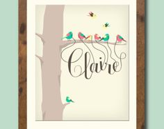 8 X 10 Personalized children's / nursery art print featuring your childs name dangling from the beaks of tiny birds