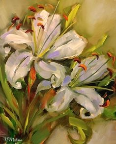 "Daily Paintworks - ""Last Bloom White Lilies by Texas Flower Artist Nancy Medina"" - Original Fine Art for Sale - © Nancy Medina Lily Painting, Oil Painting Flowers, Paintings I Love, Original Paintings, Flower Artists, Painting Workshop, White Lilies, Pastel, Arte Floral"