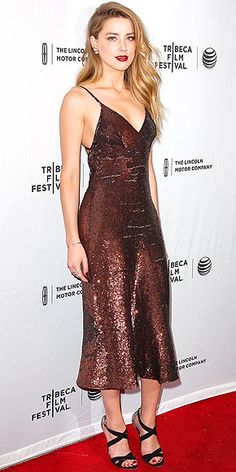 AMBER HEARD | in a bronze sequin Temperley London gown, black strappy Jimmy Choo heels and wine lips