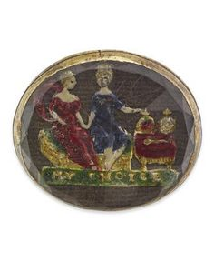A mid 17th century reverse carved and enamelled intaglio jewel The rose-cut rock crystal with a reverse carved polychrome enamel scene, depicting an enthroned royal couple indicating crowns and sceptre with legend 'My Choice' beneath, against a woven hair or brown silk ground, to a collet setting, width 18mm, damages.