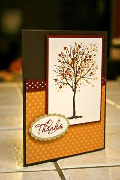 Stampin' Up Thanks Handmade Greeting card. via Etsy.