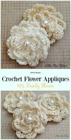 Dainty Flower Free Crochet Pattern-Easy #Crochet #Flower Appliques Free Patterns
