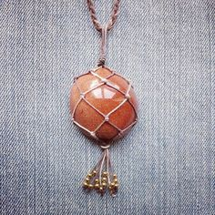 SALE Macrame Wrapped Gold Stone Necklace Hemp by MarleeCWatts
