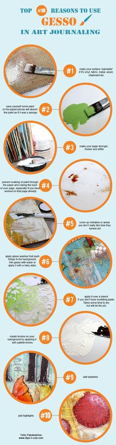 Top ten reasons to use gesso in journaling. Found on clips-n-cuts.com and Marjie Kemper Designs. Simple Pleasures Rubber Stamps and Scrapbooking.