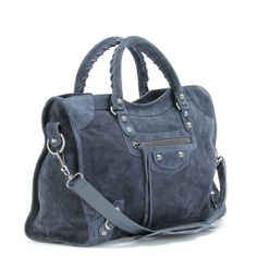 """City"" tote from Balenciaga / charcoal-blue suede"