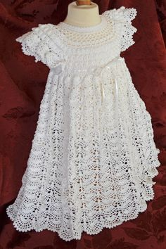 White Christening / Blessing Gown with White by CherryHillCrochet