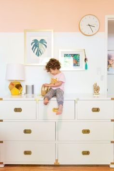 Painting DIY color-blocked walls is a great girls room idea! Learn how we painted this colorful wall with our easy painting tutorial. Pale Blue Walls, Block Wall, Woodland Nursery Decor, Trendy Home, Easy Paintings, Kid Beds, Girl Room, Paint Colors, Wall Colors