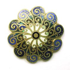 Antique French Enamel Button Flower Design w/ Scalloped Edge 3/4""
