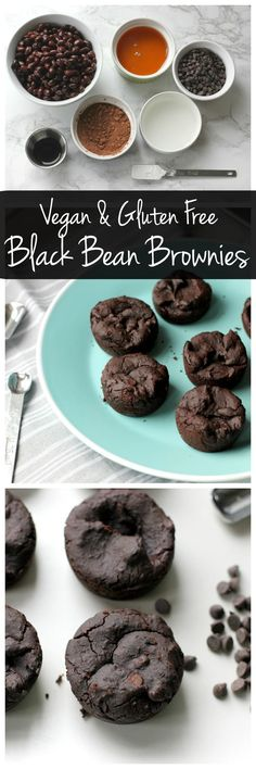 Black Bean Brownie Bites These black bean brownie bites are vegan and gluten free. They're low in sugar but high in protein and fiber. They're an easy, healthy dessert!These black bean brownie bites are vegan and gluten free. They're low in sugar but high Healthy Dessert Recipes, Gluten Free Desserts, Easy Desserts, Vegan Gluten Free, Healthy Meals, Vegan Keto, Vegetarian Meals, Baking Recipes, Healthy Deserts