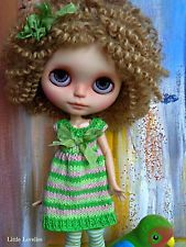 """Blythe or Pullip Doll striped cotton dress  OOAK - """"Mintie Mama"""" spring greens a"""