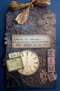 Tim Holtz tag ❤ Love the depth to this one. Card Tags, Gift Tags, Timmy Time, Decoupage, Handmade Tags, Paper Tags, Mix Media, Artist Trading Cards, Vintage Tags