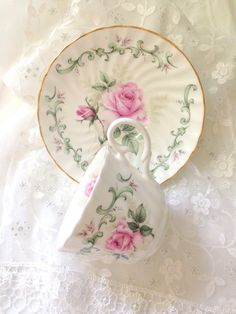 English Staffordshire Fine Bone China Royal Patrician Pattern Tea Cup and Saucer Cottage Style