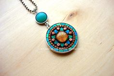 Copper and Blue Green Boho Artisan Pendant, OOAK Necklace, Mosaic,