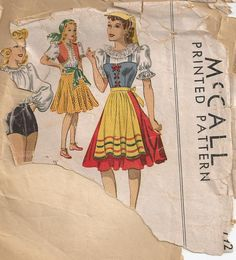 1940s Vintage Dance or Peasant Costume Pattern McCall by Redcurlzs, $27.00