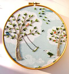 "Personalise - Windy Day - Hand Embroidery Hoop Art ready for display - 8 x 8 Inch Hoop by mirrymirry. $28.00, via Etsy. - As seen in Homespun's November 2013 ""Best of the best from Pinterest"" column,"