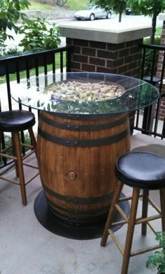 Wine Barrel Patio Table, love the scattered cork look too. Outdoor Pub Table, Patio Bar, Outdoor Decor, Patio Tables, Outdoor Ideas, Rustic Outdoor, Pub Tables, Patio Grill, Patio Roof