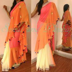 Shop here 👇 https://sonalandpankaj.com/collections/sarees-ready-to-wear-sarees/products/pink-orange-cream-classy-drape-saree-sa00031 Scarletmapleboutique@gmail.com +919669166763