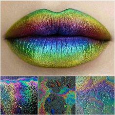 PURE TALENT!  @miamoore.mua created this incredible oil slick lip using #sugarpill Royal Sugar, Decora and Absinthe eyeshadows over @meltcosmetics Bane lipstick. Sooooo good!!