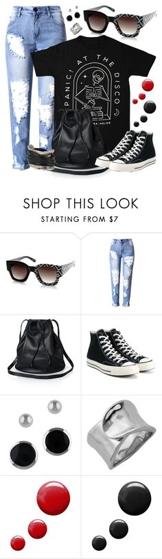 """""""Half Print Graphic Print Sunglasses"""" by dazzlious ❤ liked on Polyvore featuring Converse, Lord & Taylor, Topshop and Uno de 50"""
