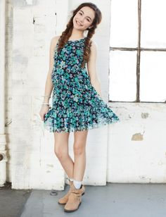Floral Mesh Tiered Dress | Girls Dresses Clearance | Shop Justice