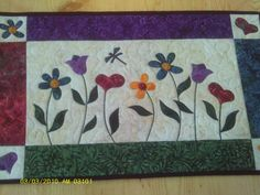 Spring flowers applique quilted wall hanging or by Montanapillows
