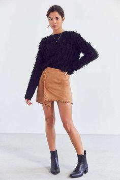 Slide View: 3: Haute Rogue Allison Whip Stitch Wrap Skirt