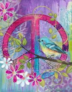 Peace Bird~ Teenage Girl Wall Decor~ Pink Purple Turquoise~ Peace Sign Wall Art~ Teen Room~ Bird Flowers~ Hippie Decor~ Girls Bathroom