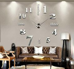 Asunflower Modern Modern 3D Frameless Large Wall Clock Decorative DIY Clock Kit US Shipping | shopswell