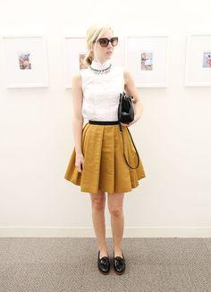 Jane Keltner de Valle in a Proenza Schouler top, Fenton/Fallon necklace, Prada sunglasses, Jason Wu skirt, bag and shoes